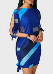 wholesale Tie Side Printed Round Neck Navy Blue Dress