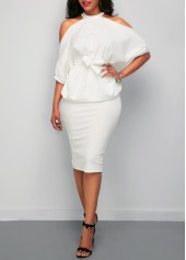 Batwing Sleeve Cold Shoulder Top and White Skirt