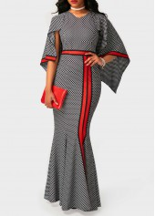 Printed High Waist V Neck Maxi Dress