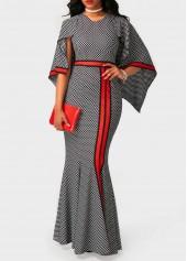 Printed High Waist V Neck Maxi Dress