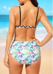 wholesale Printed High Waist Open Back Two Piece Swimwear