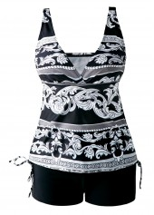 Open-Back-Drawstring-Side-V-Neck-Printed-Tankini