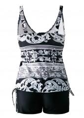 wholesale Open Back Drawstring Side V Neck Printed Tankini