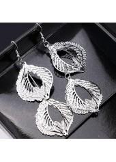 Silver-Leaf-Shape-Decorated-Metal-Earrings
