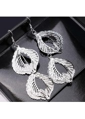 wholesale Silver Leaf Shape Decorated Metal Earrings