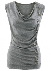Grey Cowl Neck Button Embellished Ruched Tank Top