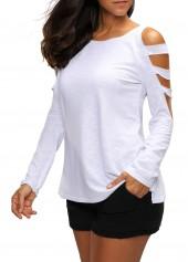 wholesale Round Neck Cutout Sleeve White T Shirt