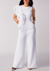 Sleeveless Flouncing Pocket White Round Neck Jumpsuit