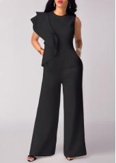 High Waist Flouncing Wide Leg Black Jumpsuit