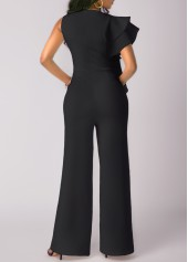 wholesale High Waist Flouncing Wide Leg Black Jumpsuit