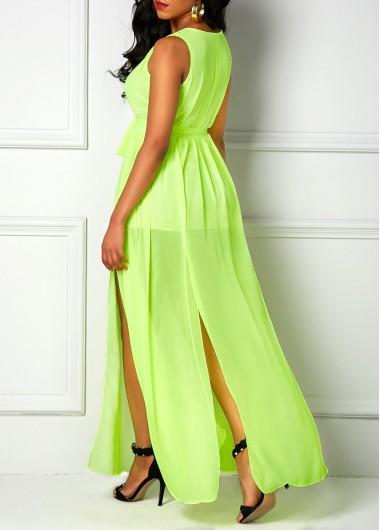 Light Green V Neck Sleeveless Maxi Dress
