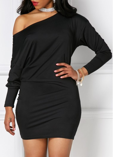 Three Quarter Sleeve Skew Neck Dress