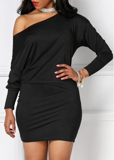 Three Quarter Sleeve Skew Neck DressCasual Dresses<br><br><br>color: Black<br>size: S,M,L,XL,XXL,XXXL
