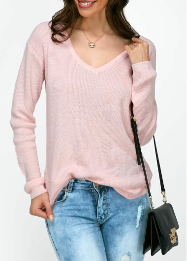 Pink V Neck Long Sleeve Sweater