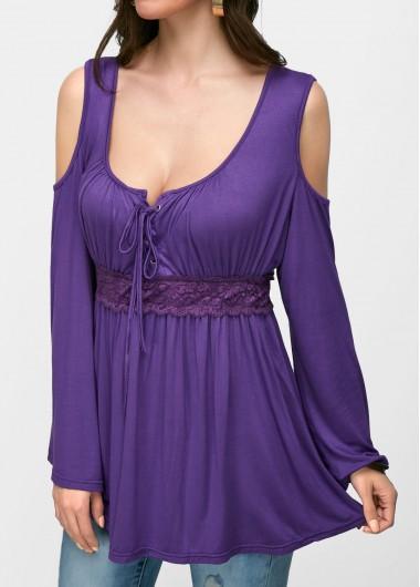 Lace-Up-Cold-Shoulder-Purple-Blouse