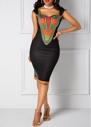 Open Back Dashiki Print Black Sheath DressPrint Dresses<br><br><br>color: Black<br>size: S,M,L,XL,XXL