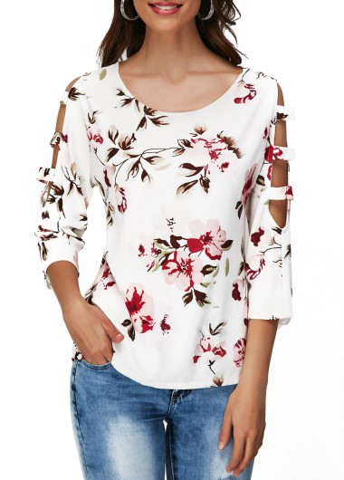 Cutout Sleeve Round Neck Flower Print T Shirt