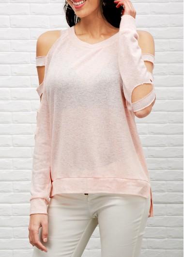 Round neck cutout sleeve pink t shirt