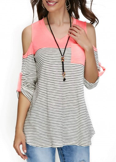 Stripe Print Cold Shoulder V Neck T Shirt