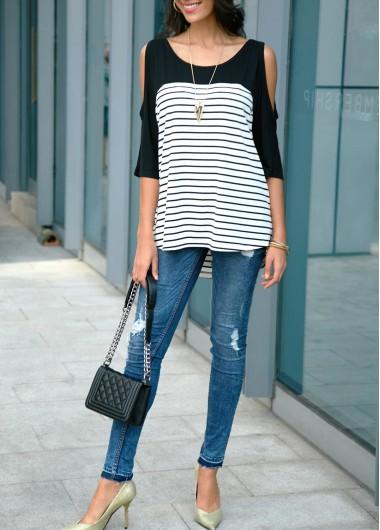 Cold Shoulder Stripe Print Black T Shirt