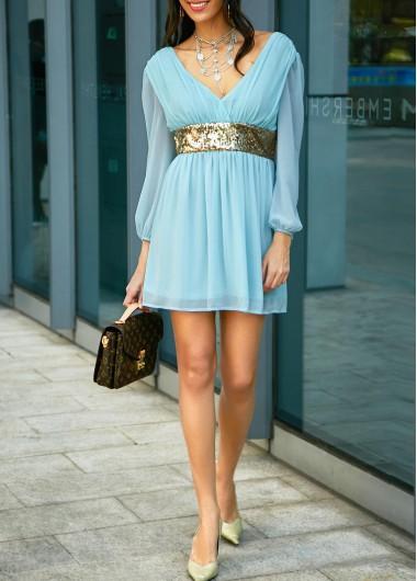 Sequin embellished v neck open back blue dress...