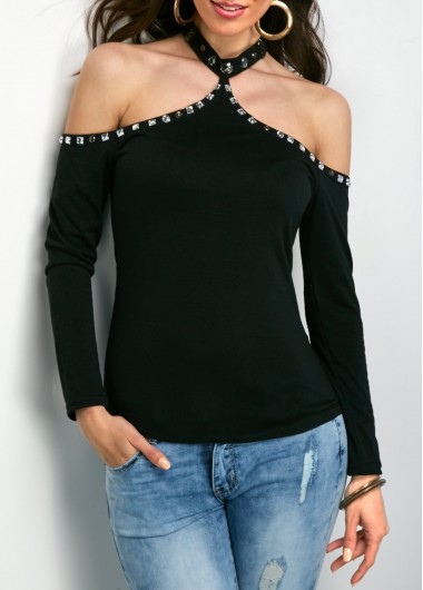 Rhinestone Embellished Black Cold Shoulder T Shirt