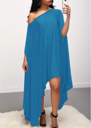 Skew Neck Asymmetric Hem Blue Dress