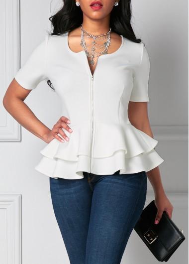 Flouncing Zipper Up Layered White Short Sleeve Blouse