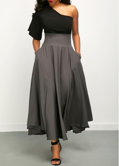 One Shoulder Top and Belted High Waist Skirt