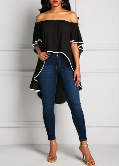 Asymmetric Hem Off the Shoulder Batwing Sleeve BlouseBlouses &amp; Shirts<br><br><br>color: Black<br>size: S,M,L,XL,XXL