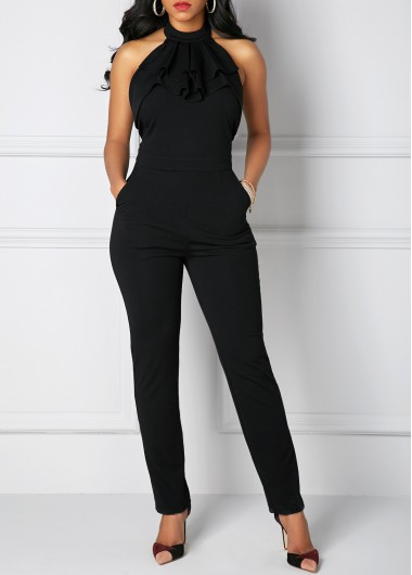 Halter Neck Pocket Solid Black Jumpsuit
