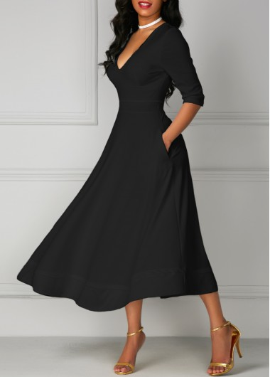 V Neck Black Pocket Design Half Sleeve DressMaxi Dresses<br><br><br>color: Black<br>size: S,M,L,XL,XXL