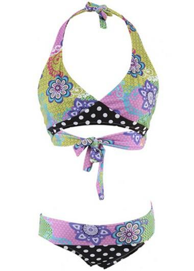 Flower Print Tie Back Halter Bikini