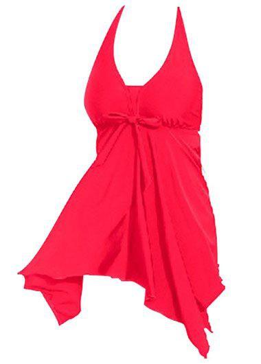 Asymmetric Hem Halter Neck Solid Red Swimdress