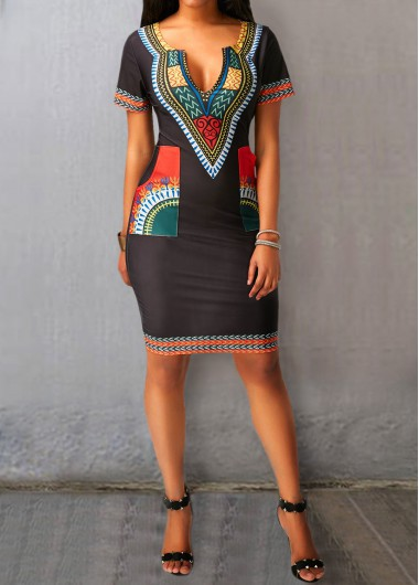 Black Split Neck Printed Pocket Dress