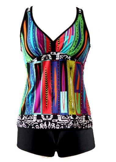 Padded Printed Black Racerback Tankini SetSwimwear<br><br><br>color: Black<br>size: S,M,L,XL,XXL