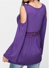 wholesale Lace Up Cold Shoulder Purple Blouse