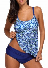 Open Back Blue Padded Printed Tankini Set