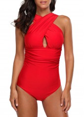 wholesale Open Back Criss Cross Front One Piece Swimwear