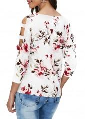 wholesale Cutout Sleeve Round Neck Flower Print T Shirt