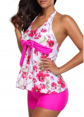 wholesale Flower Print Halter Neck Top and Rose Shorts