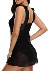 wholesale Chiffon Panel V Neck Black Swimdress