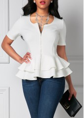 wholesale Flouncing Zipper Up Layered White Short Sleeve Blouse