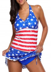 Star Print Stringy Selvedge Halter Neck Tankini Set