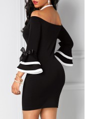 wholesale Flare Sleeve Off the Shoulder Black Sheath Dress