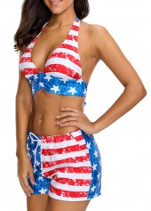 wholesale Striped Halter Neck Drawstring Waist Two Piece Swimwear
