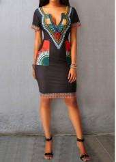 Black-Split-Neck-Printed-Pocket-Dress