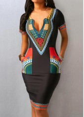 wholesale Black Split Neck Printed Pocket Dress