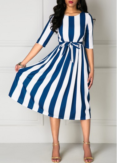 Half Sleeve Belted Stripe Print DressPrint Dresses<br><br><br>color: White<br>size: S,M,L,XL,XXL