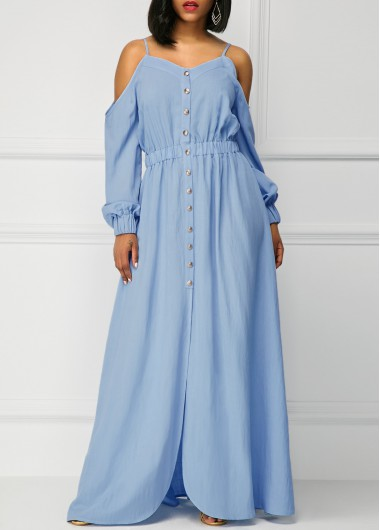 Long Sleeve Off the Shoulder Blue Maxi Dress